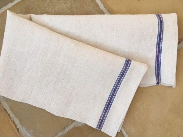 Handtuch Bauernleinen blau. Altes Leinen handgewebt