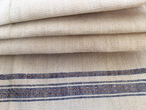 Handtuch Bauernleinen blaue Bordüre. Altes Leinen handgewebt