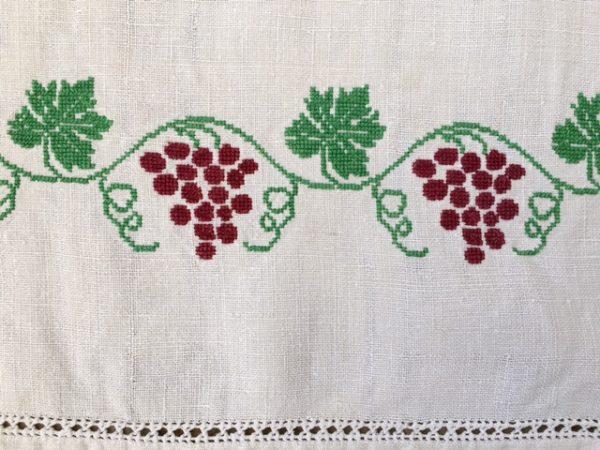 alte Leinen-Tischdecke bestickt, antikes Leinen, handgewebt, Hohlsaum