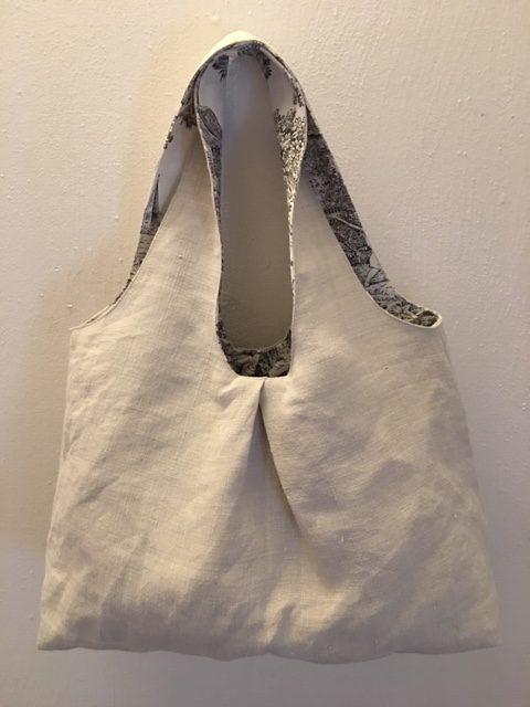 Umhängetasche, Leinen-Tasche, Toile de Jouy, altes Leinen, schwarz-cremeweiß