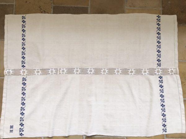 alte Leinen-Tischdecke mit Spitze, bestickt, antikes Leinen, handgewebt, Hohlsaum