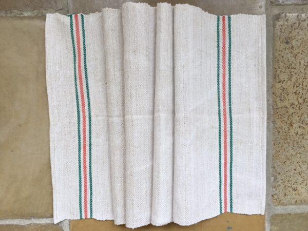Handtuch Bauernleinen grün-orange. Leinen-Tischläufer. Handgewebt