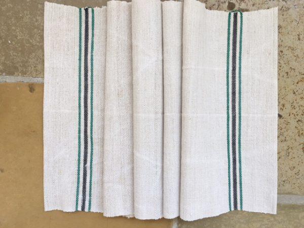 Handtuch Bauernleinen schwarz-grün. Leinen-Tischläufer. Handgewebt
