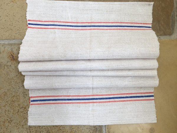Handtuch Bauernleinen blau-orange. Leinen-Tischläufer. Handgewebt