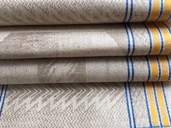 Leinen-Handtuch art deco, Geschirrtuch antik, blau-gelb