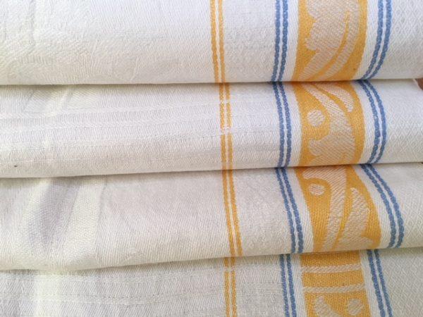 art deco Leinen-Handtuch 017, Leinen-Geschirrtuch, altes Leinen, blau gelb