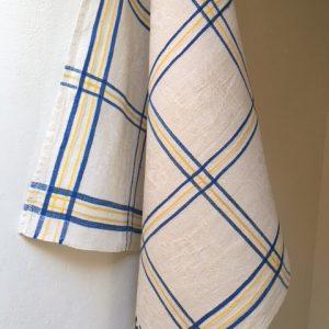Leinen-Geschirrtuch, Karos, Handtuch altes Leinen, blau gelb