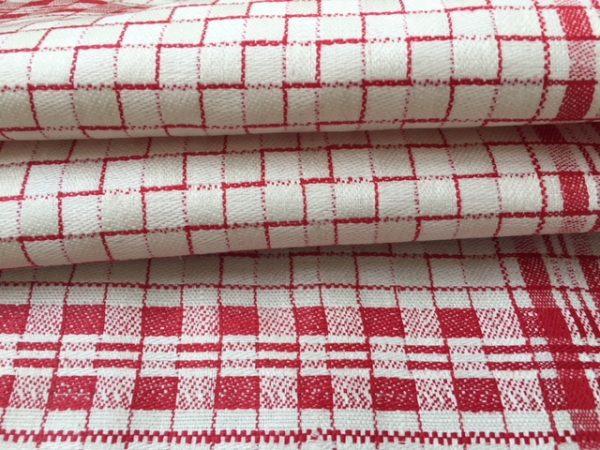 antikes Leinen-Handtuch, Leinen-Geschirrtuch, rot gewürfelt