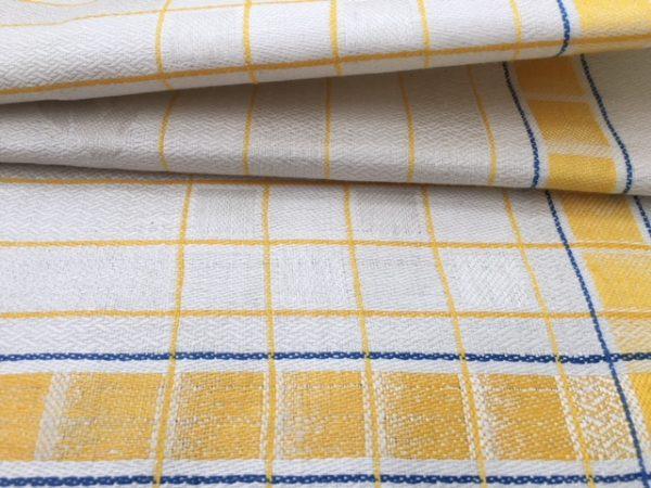 Leinen-Handtuch 023, antik, Leinen-Geschirrtuch, gelb-blau