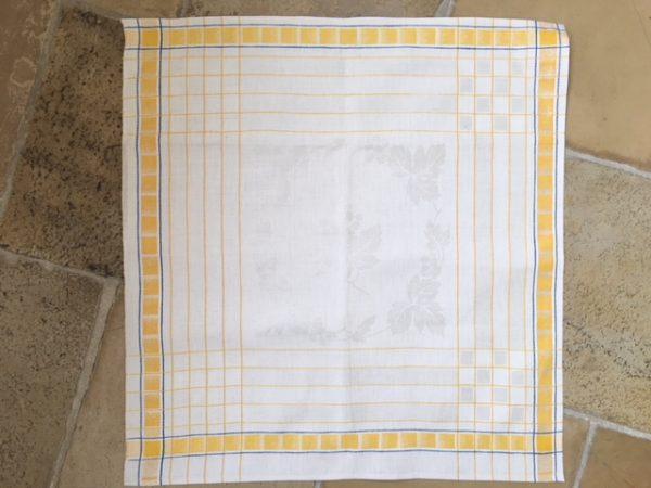 Leinen-Handtuch 023, antik, Leinen-Geschirrtuch, gelb-blau, Damast