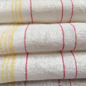 Leinen-Handtuch 088, gelb-rot, Gläsertuch, antik, Leinen-Geschirrtuch