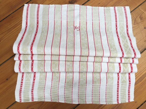 Leinen-Geschirrtuch 090, florales Muster, antik, Leinen-Handtuch