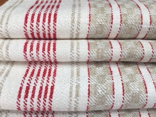 Leinen-Geschirrtuch 091, weiß, natur, rot. Antik, Leinen-Handtuch