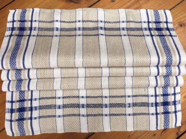 Leinen-Geschirrtuch 092, weiß, natur, blau. Antik, Leinen-Handtuch