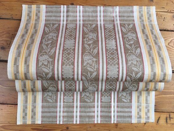original Art deco Leinen-Geschirrtuch 221. Antik, Leinen-Handtuch, Tischläufer