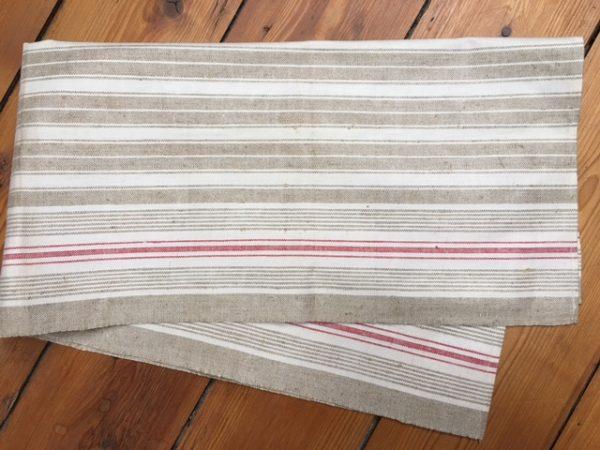 Leinen-Handtuch Streifen 836. Altes Leinen Geschirrtuch, Tischläufer
