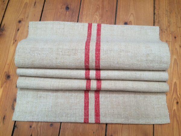 Tischläufer altes Leinen, Leinen-Tischläufer, Leinen antik rote Streifen